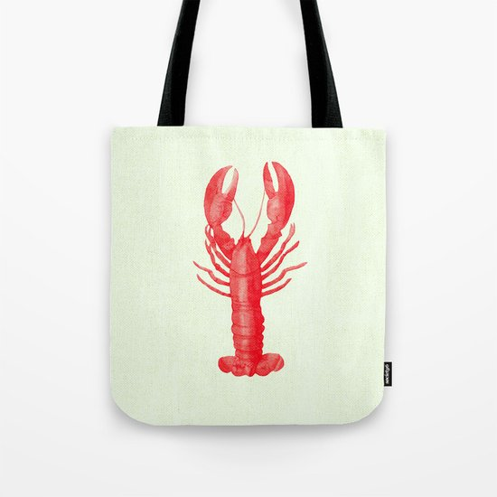 Lobster on Linen Nautical Decor Tote Bag