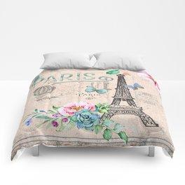 Paris - my love - France Nostalgy - pink French Vintage Comforters