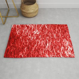 Vertical metal texture of bright highlights on red waves. Rug