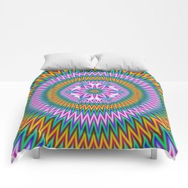 Floral Motif in Chevron Rings Comforters