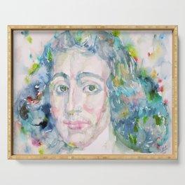 BARUCH SPINOZA - watercolor portrait Serving Tray