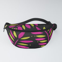 Tropical Leaves Trio Fuchsia Olive on Black Fanny Pack
