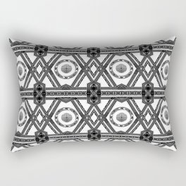 Geometric Black and White Panel Repeat Pattern Rectangular Pillow