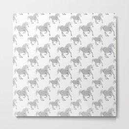 White Horse Pattern Metal Print