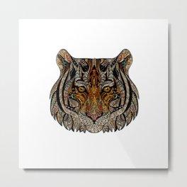 Boho geometric tribal tiger cat animal graphic design Metal Print