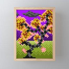 Fire Bonsai Pixel Art Framed Mini Art Print