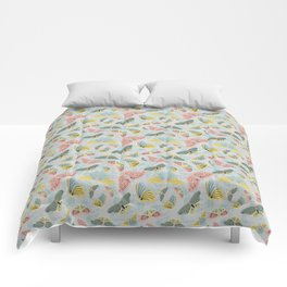 Fluttering in Pink and Green Comforters