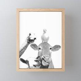Black and White Farm Animal Friends Framed Mini Art Print