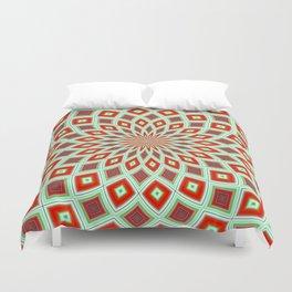 Red And Green Hallucinogenic Kaleidoscope Duvet Cover