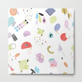 Geometric Shapes and Pastel Colored Trendy Pattern Metal Print
