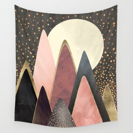 Pink and Gold Peaks Wall Tapestry