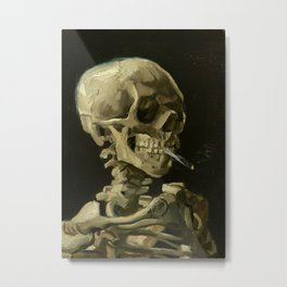 Skull of a Skeleton with Burning Cigarette by Vincent van Gogh Metal Print