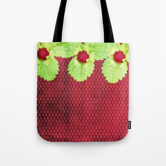 Strawberry LOVE - Strawberries pattern and Illustration Tote Bag