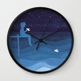 Boy with paper boats, blue Wall Clock