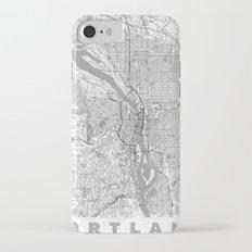 Portland City Map Line iPhone 7 Slim Case