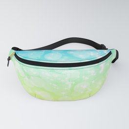 Blue and Yellow Bokeh Ombre Gradient Fanny Pack