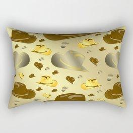 brown, golden pattern of little cowboy hats Rectangular Pillow
