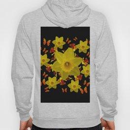 Decorative Black Design Butterflies Yellow Daffodils Hoody