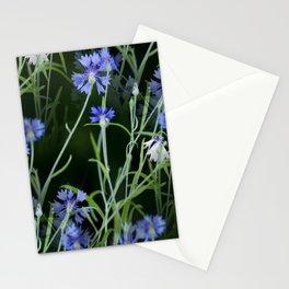 Beautiful Cornflowers on Black Background #decor #society6 #buyart Stationery Cards