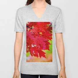 Red Maple Leaf Tree [Fall Nature Photography] Unisex V-Neck