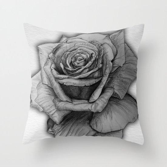 Rose Sketch Throw Pillow
