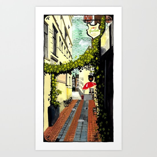 Red umbrella, Amsterdam Art Print