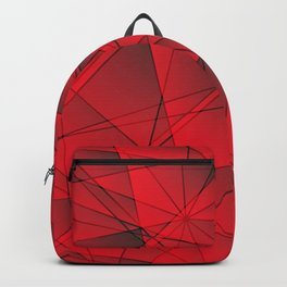 Geometric web of red lines with cross triangular highlights. Backpack