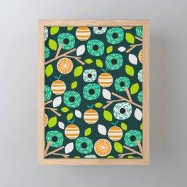 Oranges and flowers Framed Mini Art Print