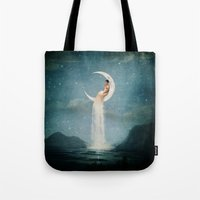 christian Tote Bags featuring Moon River Lady by Paula Belle Flores