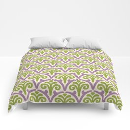Floral Scallop Pattern Lavender and Chartreuse Comforters