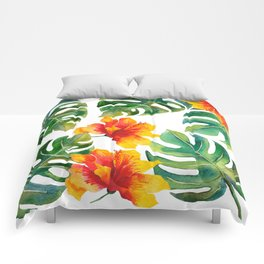 Monstera And Hibiscus Comforters