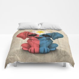 Cute Puppy Dog with flag of The Philippines Comforters
