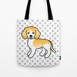 Cute Lemon And White Beagle Dog Cartoon Illustration Tote Bag