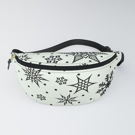 Christmas Winter Snowflake Wallpaper Pattern On White Fanny Pack