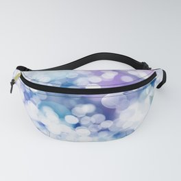 Abstract Blue Christmas Bokeh Snowflakes Pattern Fanny Pack