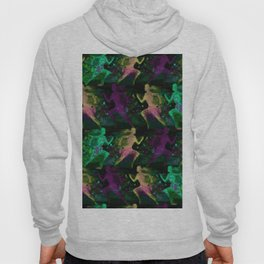 Watercolor women runner pattern on Dark Background Hoody