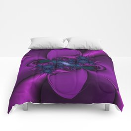 Purple and Blue Fractal 2 Comforters