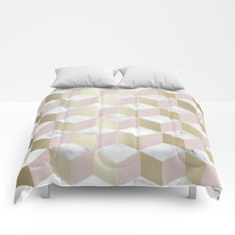 Geometric, Marble, Blush Pink and Gold, Cube 3D Pattern Comforters
