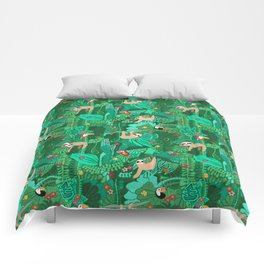 Sloths in the Emerald Jungle Pattern Comforters