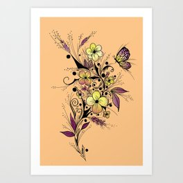 Flower Tattoo in Yellow and Purple Art Print