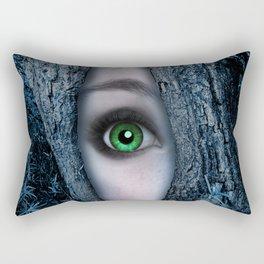 Big green eye in a blue tree Rectangular Pillow