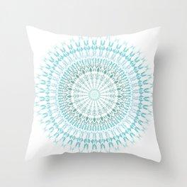 Turquoise White Mandala Throw Pillow