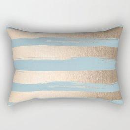 Painted Stripes Gold Tropical Ocean Sea Blue Rectangular Pillow