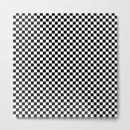 Black and White Checkerboard Pattern Metal Print