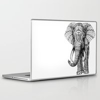 friend Laptop & iPad Skins featuring Ornate Elephant by BIOWORKZ