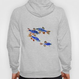 Pearl Danio Fish, Blue red aquatic design decor Hoody
