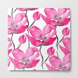 Modern neon pink floral watercolor black pattern Metal Print