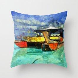 Tropical Vaka Boat of Aitutaki Throw Pillow