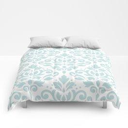 Scroll Damask Lg Pattern Duck Egg Blue on White Comforters