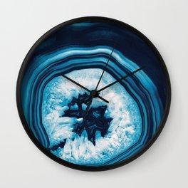 Blue White Agate #2 #gem #decor #art #society6 Wall Clock